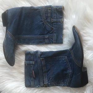 Adorable vintage blue jean booties